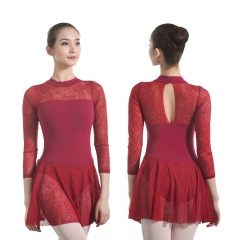 Adult Long Sleeve Lace Skirted Leotard
